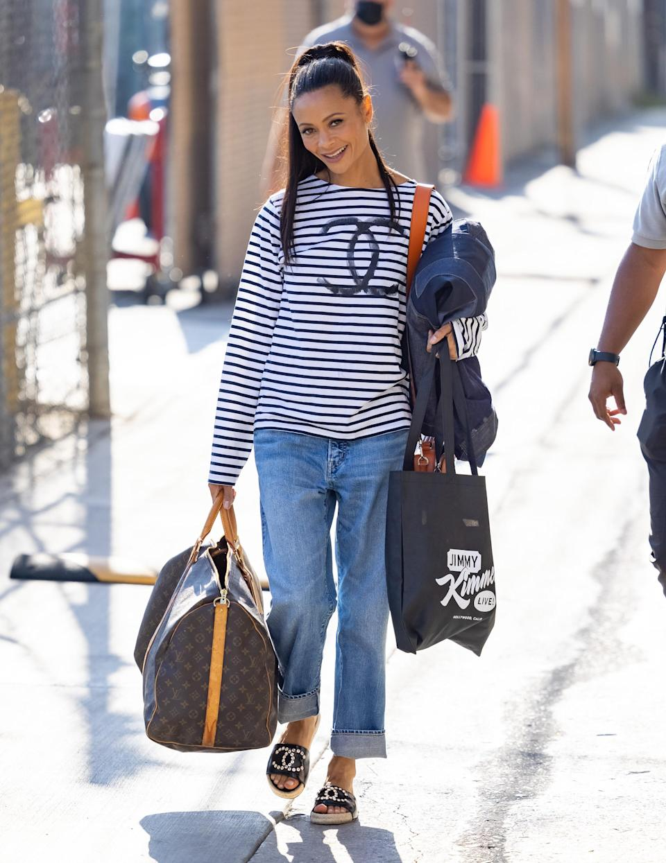 """Thandie Newton leaves the """"Jimmy Kimmel Live!"""" studios in Los Angeles. - Credit: RB/Bauergriffin.com / MEGA"""