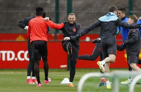 Britain Football Soccer - Manchester United Training - Manchester United Training Ground - 19/4/17 Manchester United's Wayne Rooney during training Action Images via Reuters / Jason Cairnduff Livepic