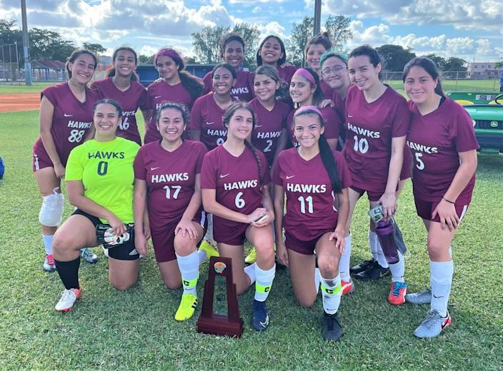 Miami Springs girls' soccer team won a district title.