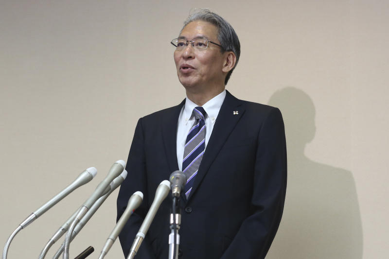 Tokyo District Court new chief prosecutor Tetsuya Sogi speaks during a press conference in Tokyo, Tuesday, Sept. 3, 2019. Tokyo's newly appointed chief prosecutor has defended his office's handling of the case against former Nissan Chairman Carlos Ghosn, saying everything is being carried out properly under Japanese law.(AP Photo/Koji Sasahara)