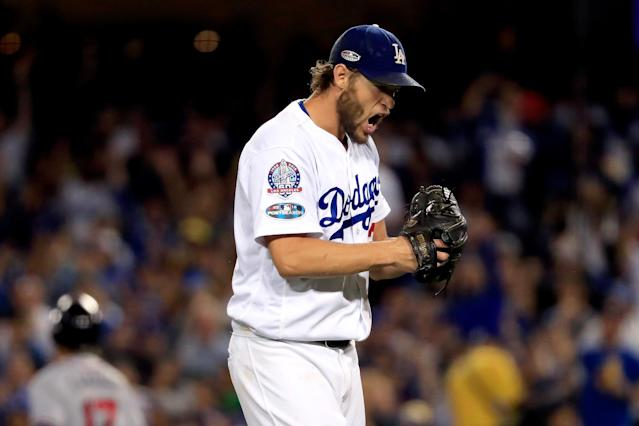 "<a class=""link rapid-noclick-resp"" href=""/mlb/players/8180/"" data-ylk=""slk:Clayton Kershaw"">Clayton Kershaw</a> pitched his longest postseason start ever in Friday's NLDS Game 2 vs. the <a class=""link rapid-noclick-resp"" href=""/mlb/teams/atl"" data-ylk=""slk:Atlanta Braves"">Atlanta Braves</a>. (Getty Images)"
