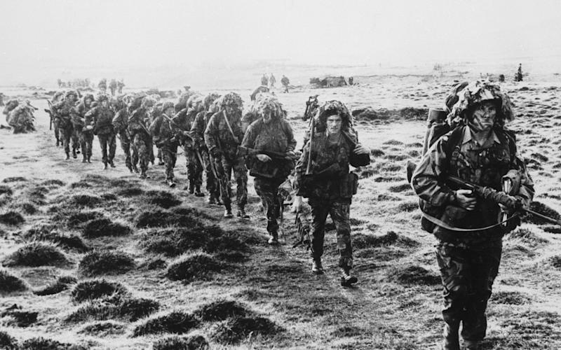 Royal Marines advancing during the Falklands War   - Credit: Hulton Archive