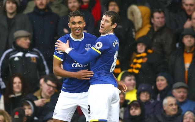 Dominic Calvert-Lewin celebrates his first goal for Everton - Copyright (c) 2017 Rex Features. No use without permission.