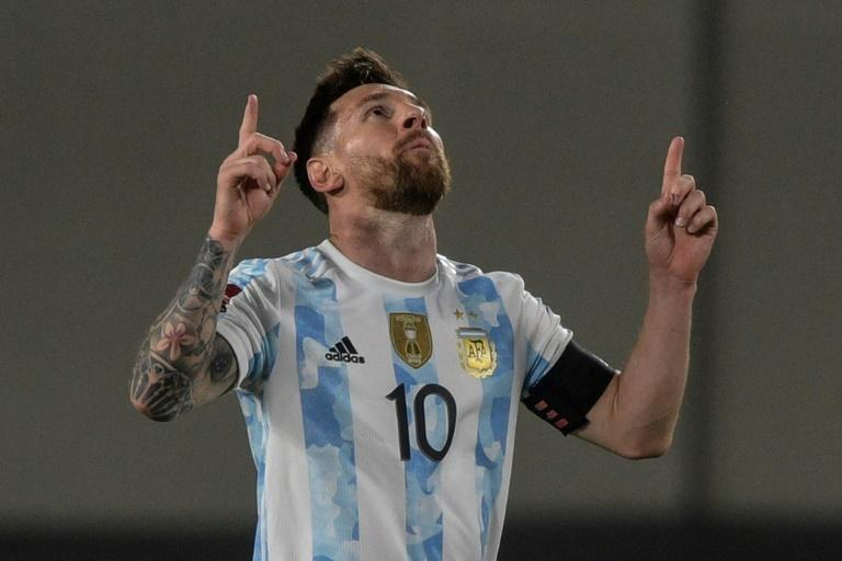 Argentina's Lionel Messi opened the scoring in fortuitous circumstances in the World Cup qualifier against Uruguay (AFP/Juan Mabromata)