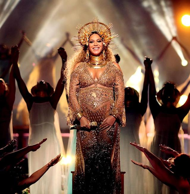 "<p>For her <a href=""https://www.yahoo.com/music/beyonce-is-pregnant-and-confusing-on-the-grammys-stage-025251198.html"" data-ylk=""slk:Grammys performance;outcm:mb_qualified_link;_E:mb_qualified_link"" class=""link rapid-noclick-resp newsroom-embed-article"">Grammys performance</a> on Feb. 12, Queen Bey actually wore a halo crown headpiece. She's been all about the headwear. (Photo: Christopher Polk/Getty Images for NARAS) </p>"