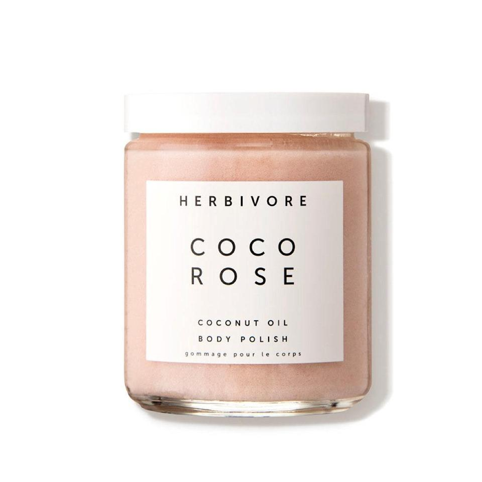 """You're probably familiar with Herbivore's face oils, but the brand's body care is just as gorgeous. Treat yourself to super-soft skin with this gentle exfoliating polish that smells like fresh roses and looks stunning in any bathroom. $36, Dermstore. <a href=""""https://shop-links.co/1724714000926447935"""" rel=""""nofollow noopener"""" target=""""_blank"""" data-ylk=""""slk:Get it now!"""" class=""""link rapid-noclick-resp"""">Get it now!</a>"""