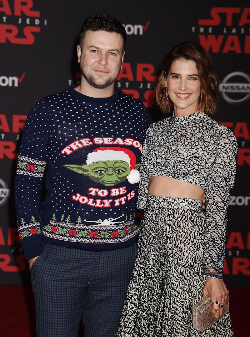 LOS ANGELES, CA - DECEMBER 09: Actors Taran Killam (L) and Cobie Smulders attend the premiere of Disney Pictures and Lucasfilm's 'Star Wars: The Last Jedi' at The Shrine Auditorium on December 9, 2017 in Los Angeles, California. (Photo by Jeffrey Mayer/WireImage)
