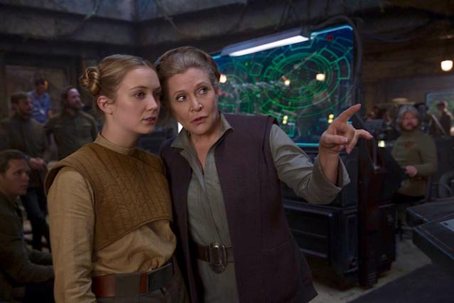 Leia plays a pivotal role in Star Wars: The Rise of the Skywalker with Billie Lourd (R) sharing scenes with her late mother (Credit: LucasFilm)