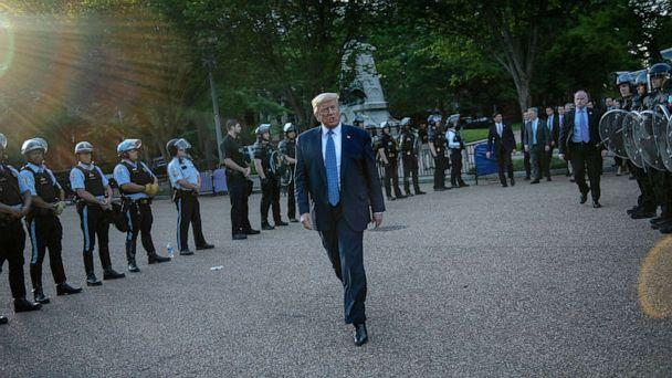 PHOTO: President Donald Trump leaves the White House on foot to go to St John's Episcopal church across Lafayette Park for a photo-op, in Washington, D.C., June 1, 2020, after police cleared the area of demonstrators. (Brendan Smialowski/AFP via Getty Images, FILE)
