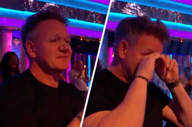 Gordon Ramsay was seen in tears in the Strictly audience (Photo: BBC)