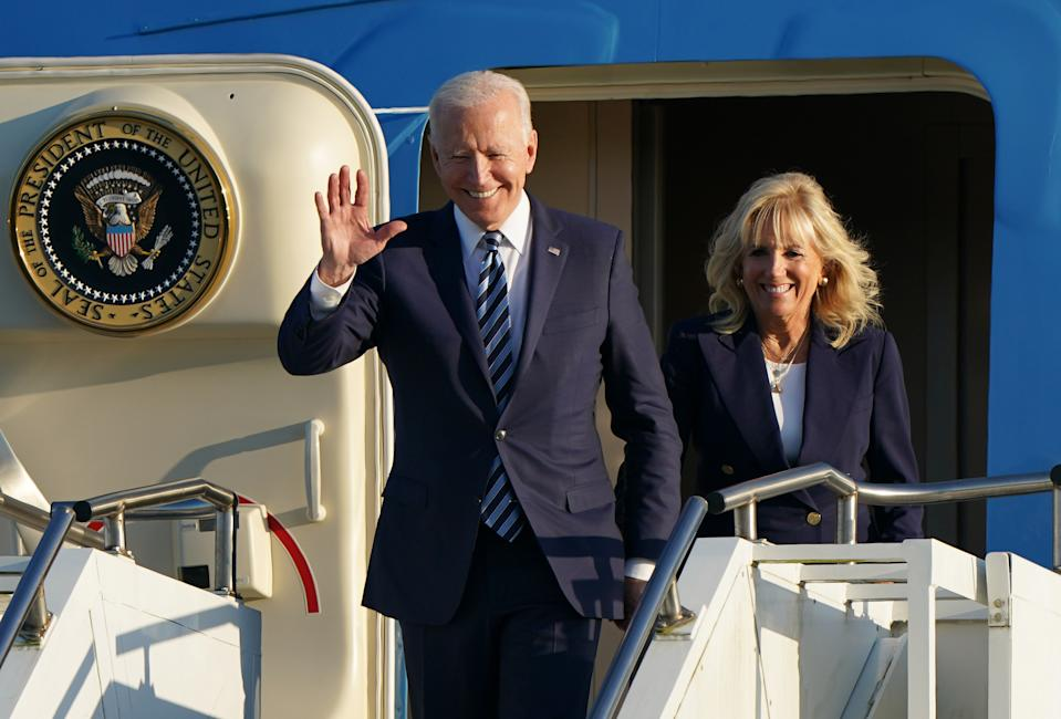 US President Joe Biden and First Lady Jill Biden arrive on Air Force One at RAF Mildenhall in Suffolk, ahead of the G7 summit in Cornwall. Picture date: Wednesday June 9, 2021.