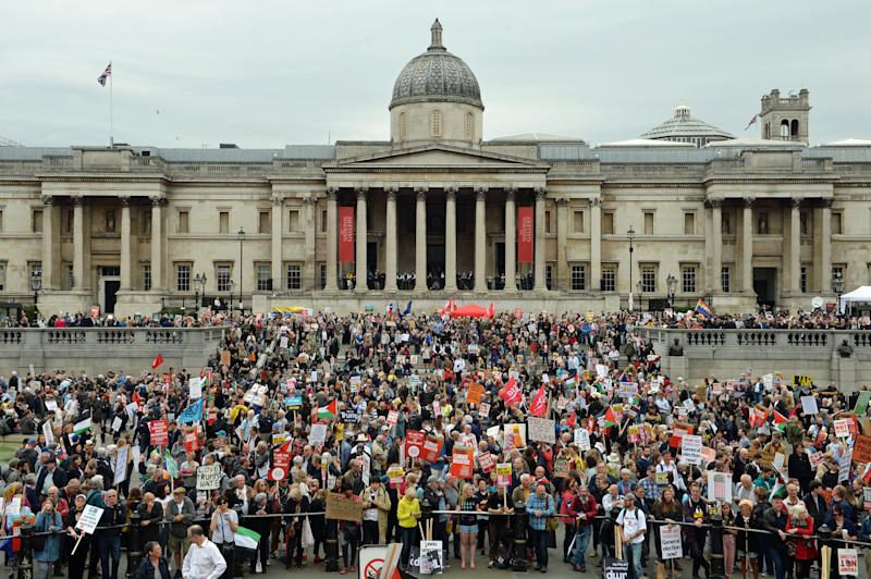Protestors gather in Trafalgar Square, London on the second day of the state visit to the UK by US president Donald Trump (Picture: PA)