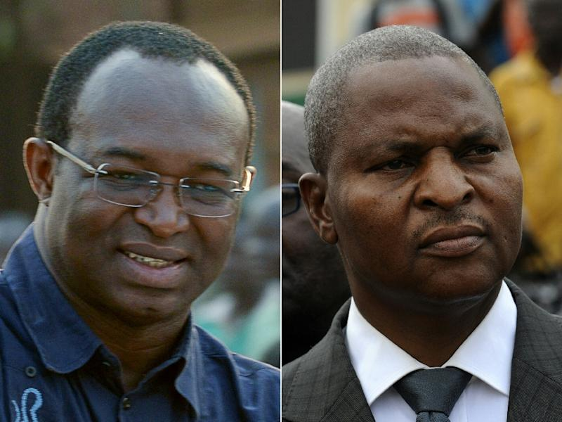 The two main Central African presidential candidates Anicet Georges Dologuele (L) and Faustin Archange Touadera on January 5, 2013 (AFP Photo/Sia Kambou, Issouf Sanogo)