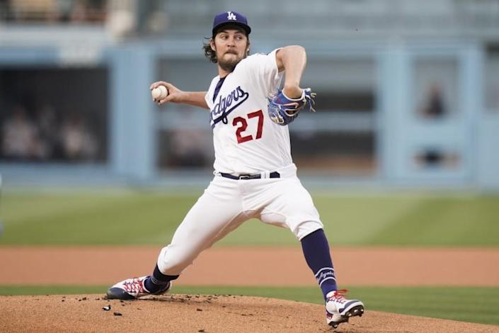 Los Angeles Dodgers starting pitcher Trevor Bauer throws against the San Francisco Giants.