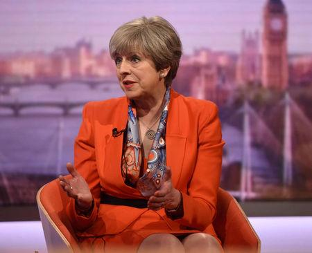 Britain's Prime Minister Theresa May speaks on the BBC's Marr Show in London, Britain April 30, 2017. Jeff Overs/BBC Handout via REUTERS