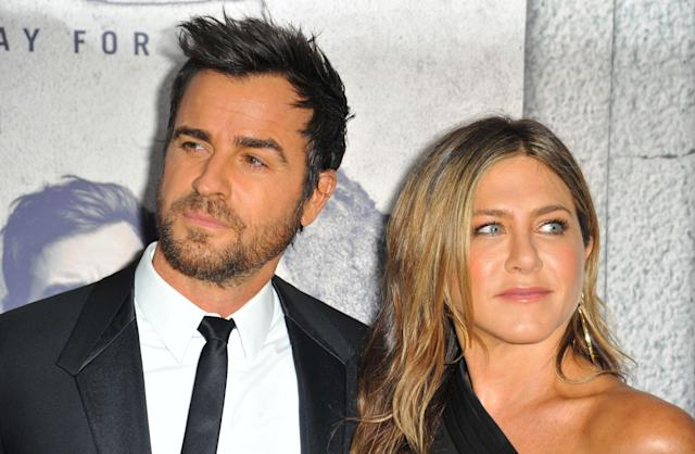 Justin Theroux and Jennifer Aniston attend the premiere of <em>The Leftovers</em> in 2017. (Photo: Dee Cercone/Everett Collection)