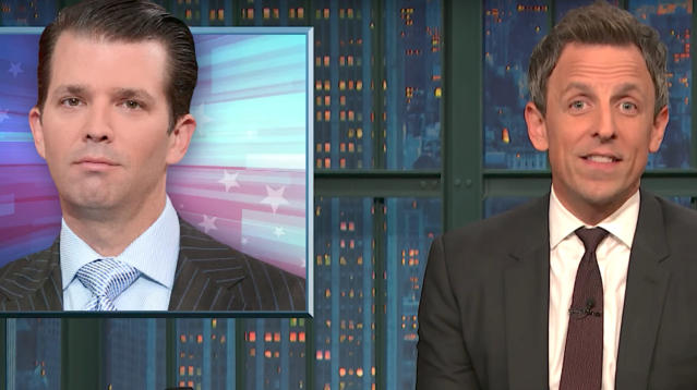 """Seth Meyers delivered a blistering assessment of Donald Trump Jr. on Tuesday's broadcast of """"Late Night."""""""