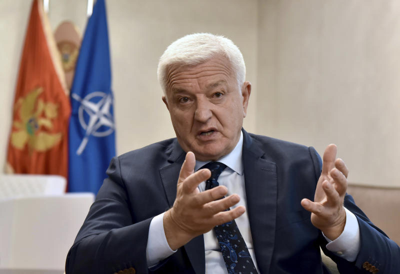 Montenegro's Prime Minister Dusko Markovic speaks during an interview with The Associated Press in Montenegro's capital Podgorica, Friday, Oct. 18, 2019. Markovic said that once Britain's Brexit split with Europe is all wrapped up, it would herald ''new opportunities for candidate countries'' to join the bloc, such as Montenegro, the Adriatic nation of some 600,000 people which is seeking EU membership.(AP Photo/Risto Bozovic)