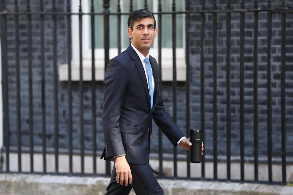 RETRANSMITTING AMENDING DATE Chancellor Rishi Sunak arrives in Downing Street, London, after the introduction of measures to bring the country out of lockdown. (Photo by Jonathan Brady/PA Images via Getty Images)