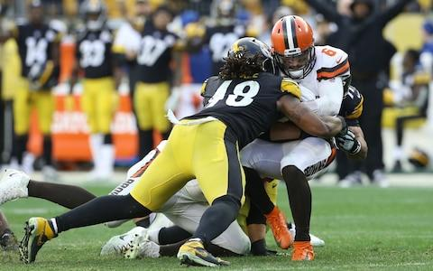 Pittsburgh Steelers outside linebacker Bud Dupree (48) sacks Cleveland Browns quarterback Baker Mayfield (6) during the fourth quarter at Heinz Field. The Steelers won 20-13 - Credit: USA Today