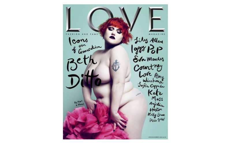 <p>Beth Ditto graced the cover of Love magazine nude back in 2009. <em>[Photo: Love]</em> </p>