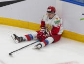 Russia's Zakhar Bardakov sits on the ice after the team's loss to Finland in the third-place game of the IIHF World Junior Hockey Championship, Tuesday, Jan. 5, 2021, in Edmonton, Alberta. (Jason Franson/The Canadian Press via AP)