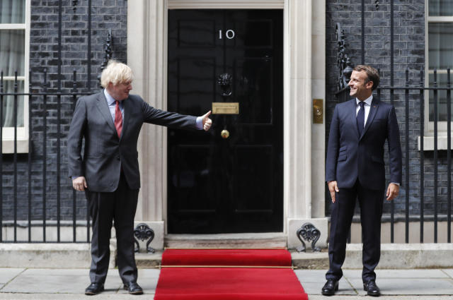 Boris Johnson discussed post-Brexit arrangements with French president Emmanuel Macron on Thursday. (AP/Frank Augstein/pool)