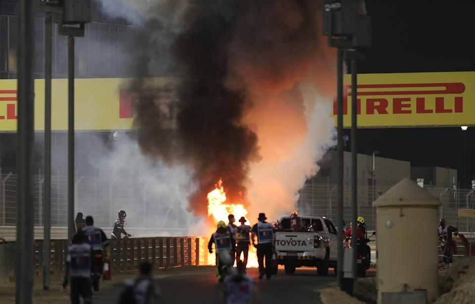 Romain Grosjean's Haas erupted into flames after crashing on the opening lap of the Bahrain Grand PrixReuters