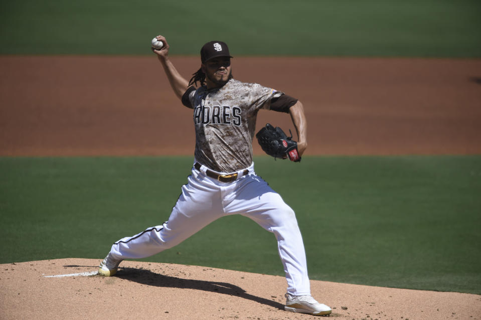San Diego Padres starting pitcher Dinelson Lamet delivers during the first inning of a baseball game against the Seattle Mariners, Sunday, Sept. 20, 2020, in San Diego. (AP Photo/Denis Poroy)