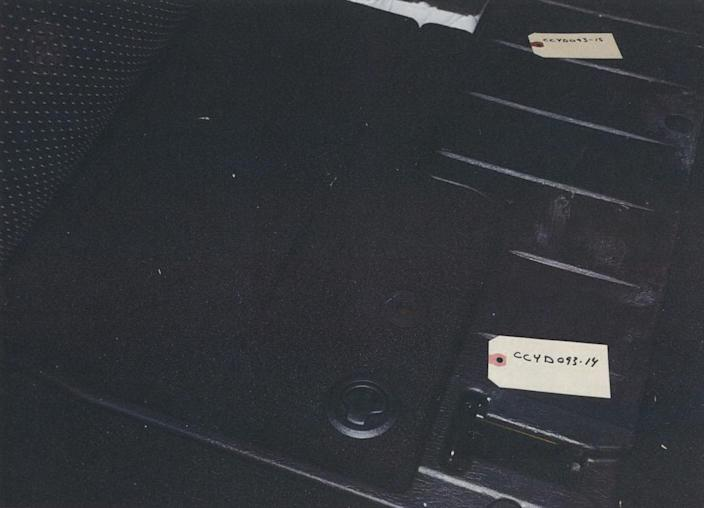 <p>The compartment in McArthur's 2017 Dodge Caravan in which police found the fur coat linked to many of his victims. (Photo provided by the Crown) </p>