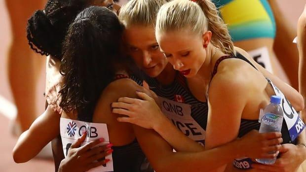 """Sage Watson, right, was to anchor the women's 4x400 team at World Relays. """"The main focus for teams, athletes and Team Canada is to get ready for Tokyo,"""" she says of the Olympics in July."""