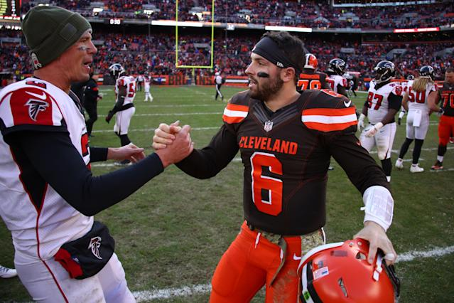 Quarterback Baker Mayfield shares a moment with his counterpart Matt Ryan after Sunday's game in Cleveland. (Getty Images)