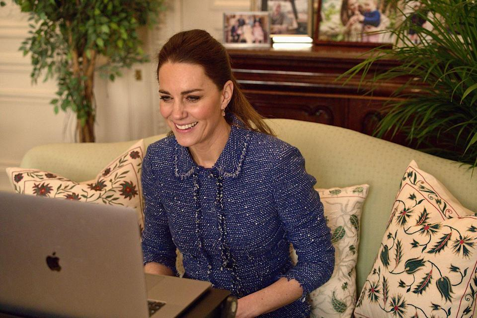 """<p>The Duchess recycled her Rebecca Taylor tweed jacket, which she'd previously worn for an engagement in 2017, for a video call with teachers. Her rhodochrosite Missoma earrings finished off the look.</p><p><a class=""""link rapid-noclick-resp"""" href=""""https://go.redirectingat.com?id=74968X1596630&url=https%3A%2F%2Fwww.missoma.com%2Fproducts%2Frhodochrosite-gold-mini-pyramid-charm-hoops&sref=https%3A%2F%2Fwww.townandcountrymag.com%2Fstyle%2Ffashion-trends%2Fnews%2Fg1633%2Fkate-middleton-fashion%2F"""" rel=""""nofollow noopener"""" target=""""_blank"""" data-ylk=""""slk:Shop the Earrings"""">Shop the Earrings</a></p>"""