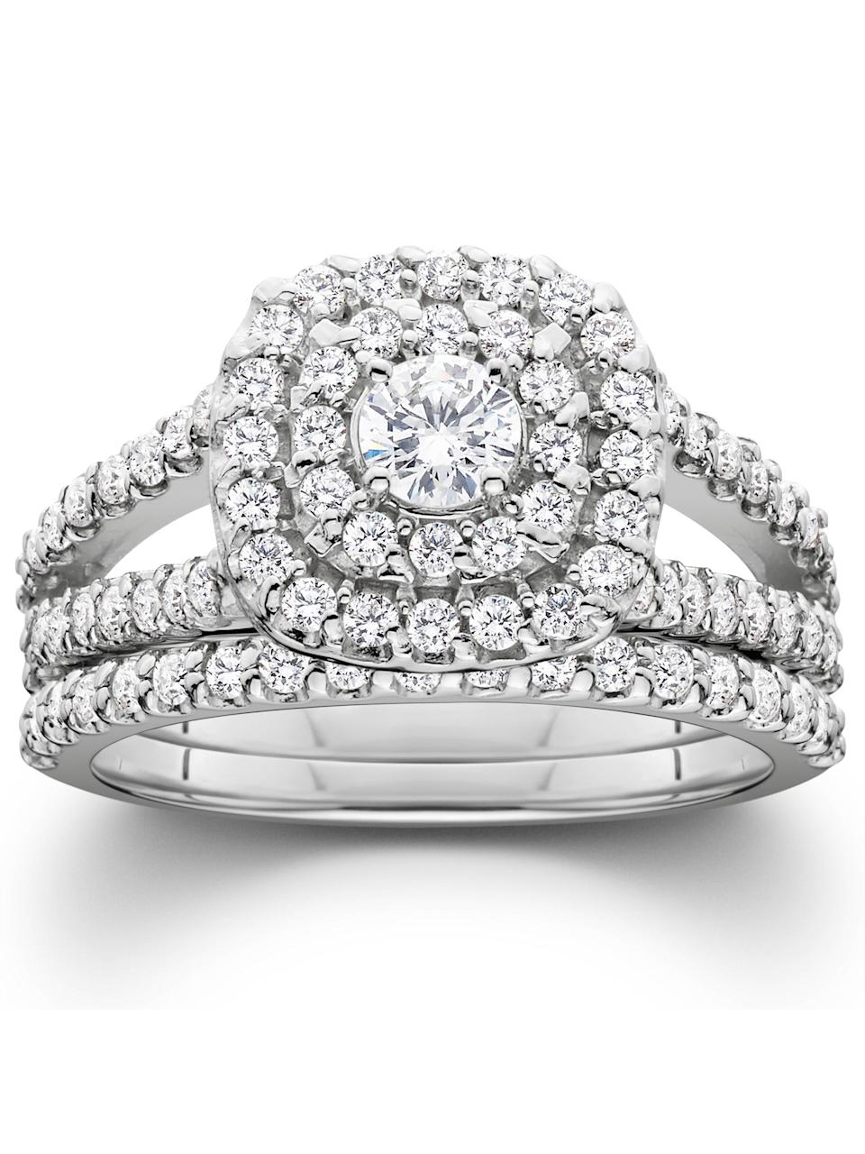 Pompeii3 11/10ct Cushion Halo Solitaire Ring. (Photo: Walmart)