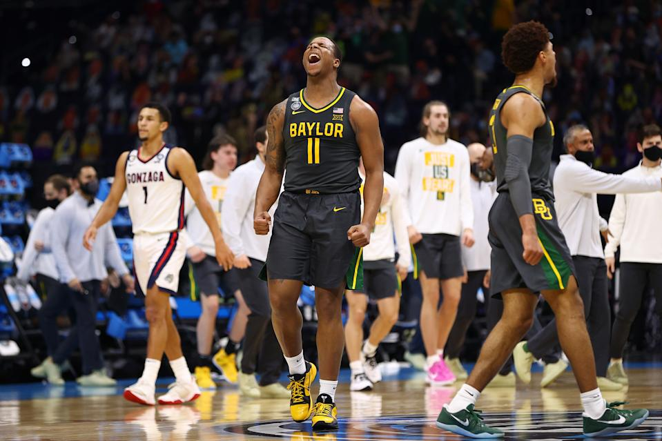 Mark Vital (11) of the Baylor Bears reacts to play against the Gonzaga Bulldogs during Monday's national championship game. (Photo by Jamie Schwaberow/NCAA Photos via Getty Images)