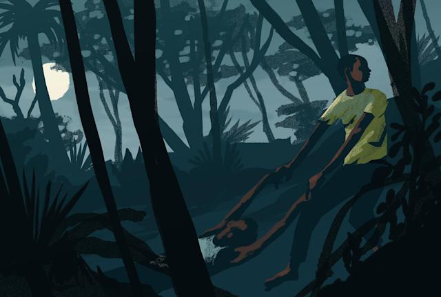 During his escape, Abdi encountered another young defector, but the boy was sick and died before he could reach safety. (Illustration by Noah MacMillan for Yahoo News.)
