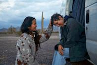 """<p><em>Nomadland's </em>Chloé Zhao is one of <a href=""""https://people.com/movies/oscars-2021-female-directors-chloe-zhao-emerald-fennell-make-history-nominations/"""" rel=""""nofollow noopener"""" target=""""_blank"""" data-ylk=""""slk:two women nominated for Best Director"""" class=""""link rapid-noclick-resp"""">two women nominated for Best Director</a> (a first!) and is the first woman of color to be nominated. She's also nominated for Best Film Editing and Best Adapted Screenplay, and the film is also up for Best Picture. </p>"""