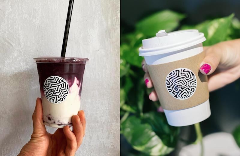 Violet sweet potato latte and Earl Grey latte. Photos: Kebun/Facebook