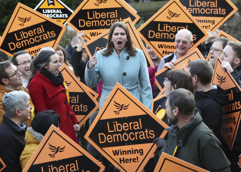 Liberal Democrat Leader Jo Swinson meets supporters during a visit, while on the General Election campaign, in Sheffield, England, Sunday, Dec. 8, 2019. Britain goes to the polls on Dec. 12. (Danny Lawson/PA via AP)