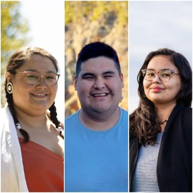 Stacy Anderson, left, Adrian N. Gunner, centre, and Heather House, right, are the three candidates in the race for Cree Nation Youth Council grand chief. (CBC - image credit)