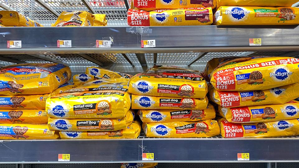Orlando, FL/USA-2/6/20: A display of Pedigree Dog Food at a Walmart Superstore ready for pet owners to purchase for their pets.