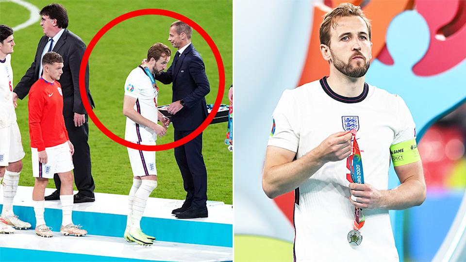 taking off and a number of England players were slammed for taking off their runners-up medal as soon as it was handed to them after their Euro 2020 final loss to Italy. (Getty Image)