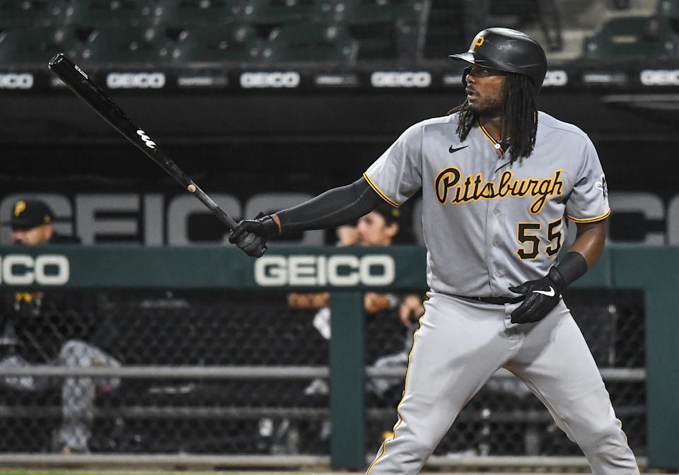 Pittsburgh Pirates infielder Josh Bell at the plate.