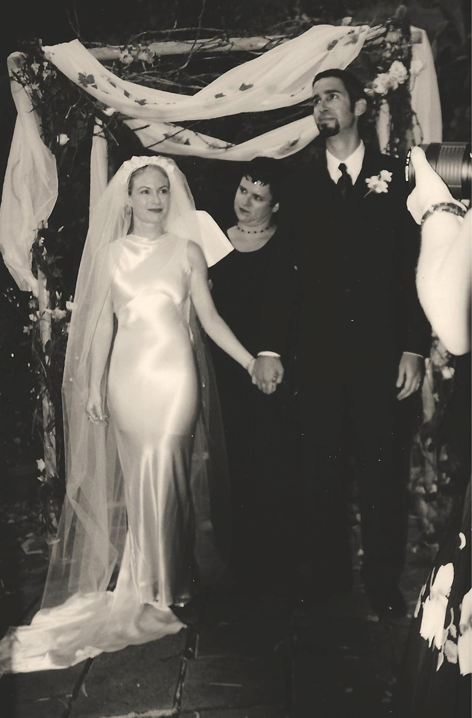 Lia and George at their second wedding in California, pictured here with their friend Charlene (PA Real Life/Collect)