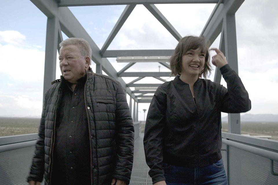 William Shatner tours the launch tower with Blue Origin's Sarah Knights at Launch Site One in West Texas