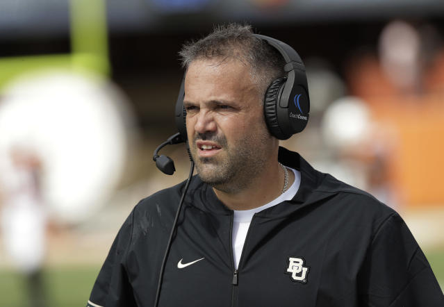 FILE - In this Oct. 13, 2018, file photo, Baylor head coach Matt Rhule watches from the sideline during the first half of an NCAA college football game against Texas, in Austin, Texas. Rhule may have only been joking when he said he sometimes still wakes up in the middle of the night haunted by the memory of those highlight plays TCUs Jalen Reagor made against the Bears last season. But that was in the last loss for the Bears, when Reagor pretty much single-handedly beat them by turning a screen pass into a 65-yard touchdown and running 37 yards for a score on a fourth-and-1 reverse. (AP Photo/Eric Gay, File)
