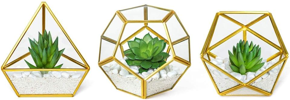 <p>These <span>Mkono 3 Pack Mini Glass Geometric Terrarium with Artificial Succulent</span> ($29) make the perfect accent piece to any decor, including your coffee table, work-from-home desk, and vanity.</p>