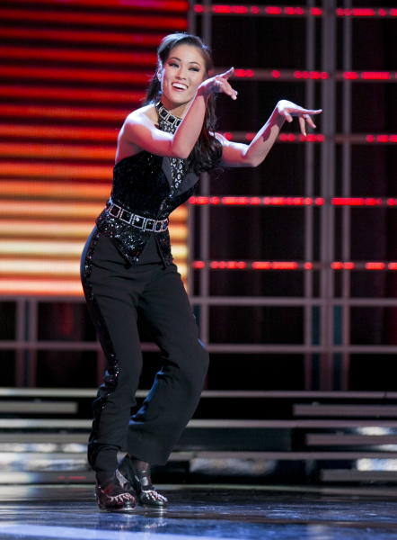 """This photo courtesy Miss America Organization shows Miss Oklahoma Alicia Clifton's tap dance performance to """"Money Can't Buy Me Love"""" that earned her top honors on Jan. 8, 2013, at the Planet Hollywood Resort & Casino in Las Vegas. Clifton, Miss Oklahoma and Ali Rogers Miss South Carolina have racked up prizes in the first day of preliminary Miss America competition in Las Vegas. (AP Photo/Courtesy B. Vartan Boyajian/MAO)"""