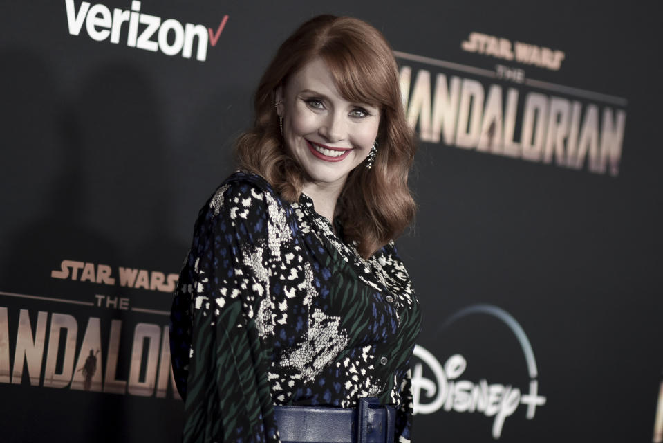 "FILE - This Nov. 13, 2019 file photo shows Bryce Dallas Howard at the premiere of ""The Mandalorian,"" in Los Angeles. Howard directed an episode of the popular Disney Plus series. (Photo by Richard Shotwell/Invision/AP, File)"