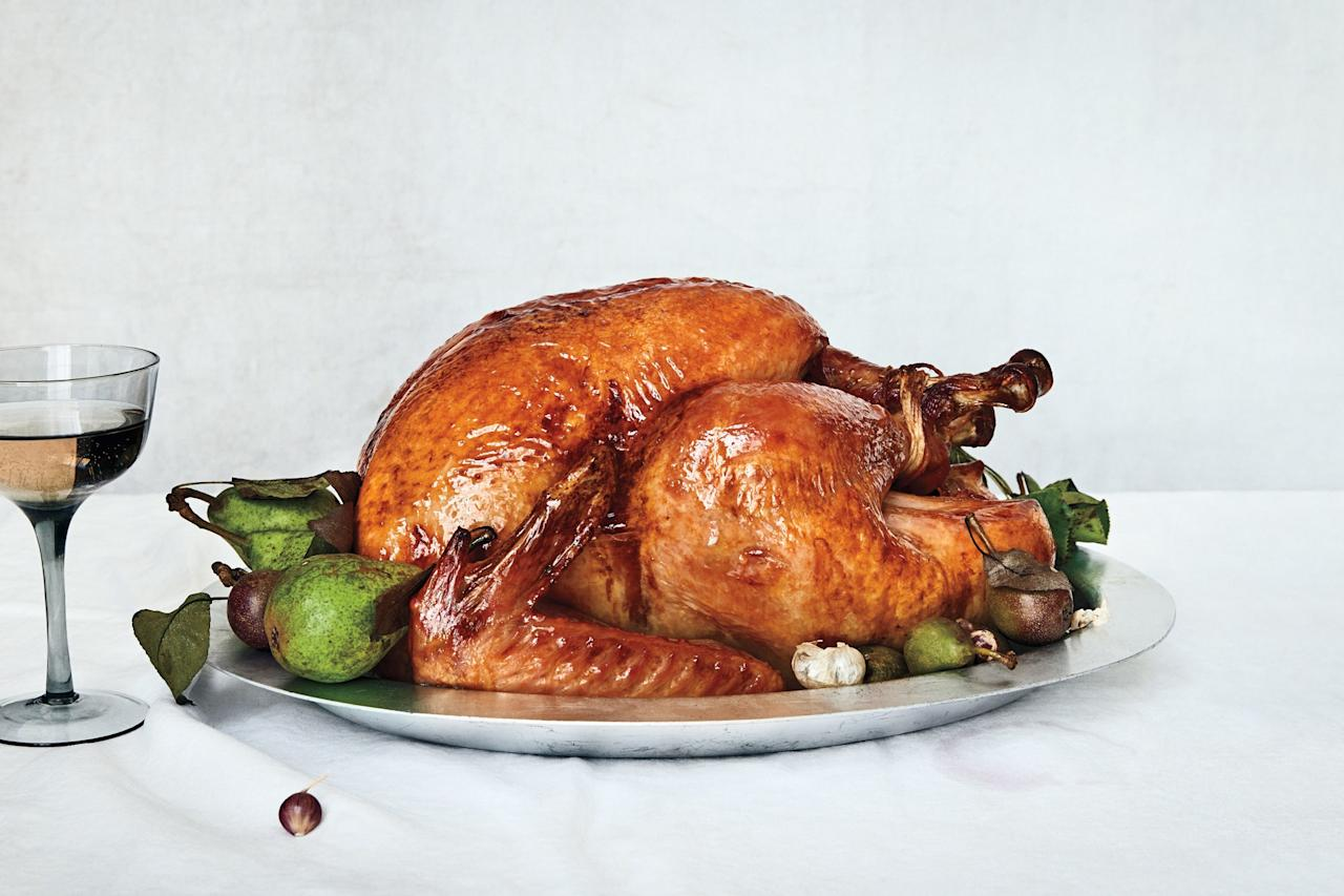 """This classic turkey is basted in a garlicky, herb-infused butter—but if you feel like skipping the baste, you can brush it occasionally with a light coat of extra-virgin olive oil to get that golden brown skin. <a href=""""https://www.epicurious.com/recipes/food/views/very-classic-dry-brined-roast-turkey?mbid=synd_yahoo_rss"""">See recipe.</a>"""